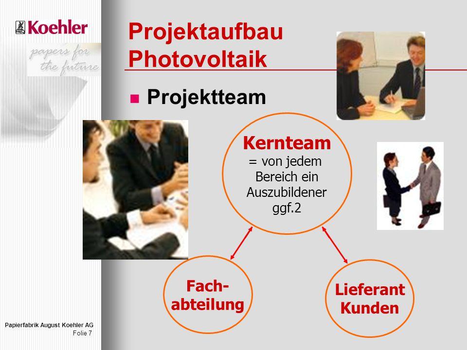 Papierfabrik August Koehler AG Folie 7 Projektaufbau Photovoltaik Projektteam Kernteam = von jedem Bereich ein Auszubildener ggf.2 Fach- abteilung Lieferant Kunden