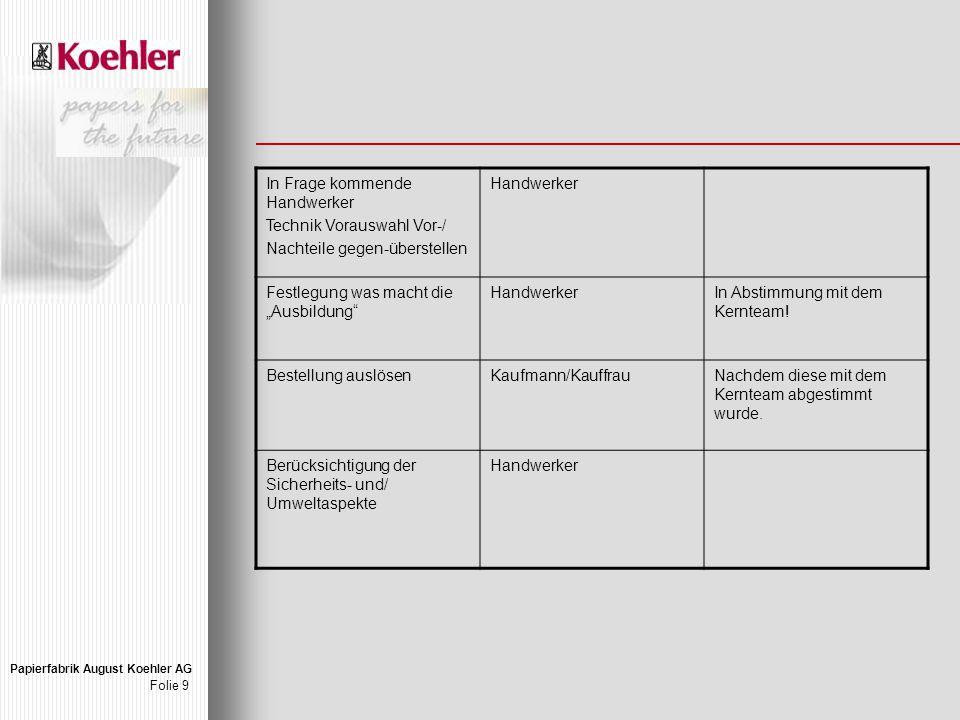 """Papierfabrik August Koehler AG Folie 9 In Frage kommende Handwerker Technik Vorauswahl Vor-/ Nachteile gegen-überstellen Handwerker Festlegung was macht die """"Ausbildung HandwerkerIn Abstimmung mit dem Kernteam."""