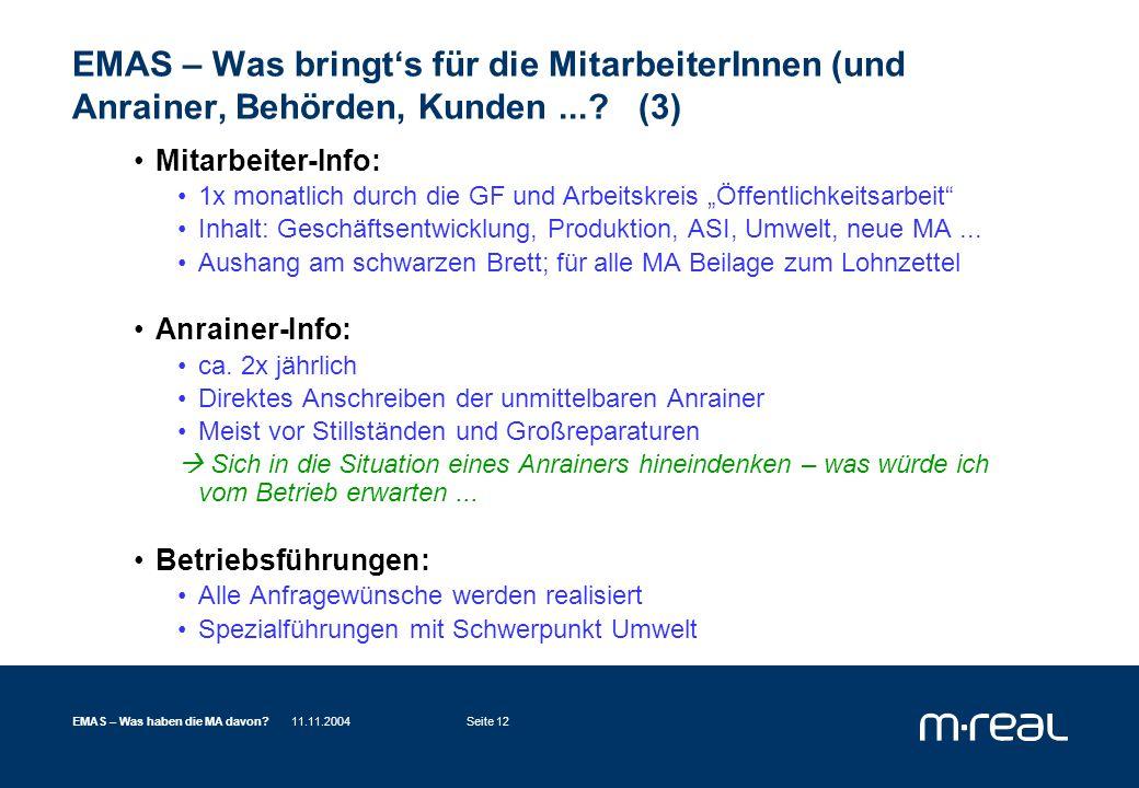 11.11.2004EMAS – Was haben die MA davon Seite 12 EMAS – Was bringt's für die MitarbeiterInnen (und Anrainer, Behörden, Kunden....