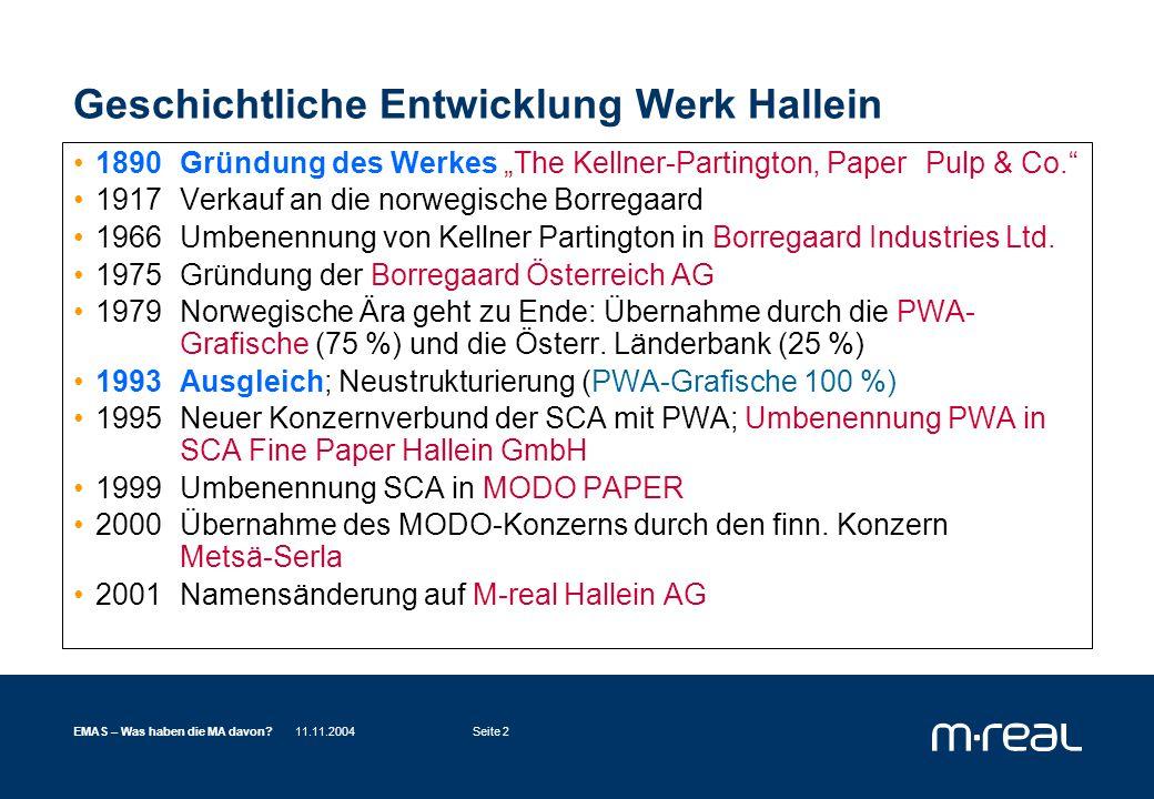 11.11.2004EMAS – Was haben die MA davon?Seite 13 EMAS – Was bringt's für die MitarbeiterInnen (und Anrainer, Behörden, Kunden....