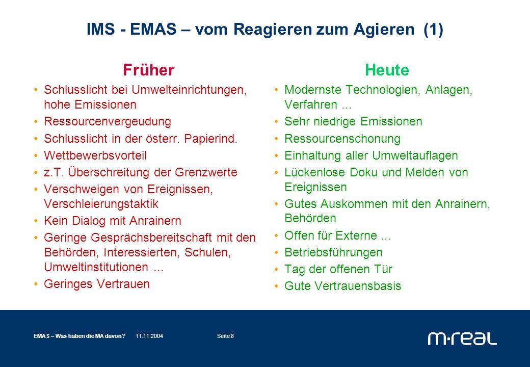 11.11.2004EMAS – Was haben die MA davon?Seite 8 IMS - EMAS – vom Reagieren zum Agieren (1) Früher Schlusslicht bei Umwelteinrichtungen, hohe Emissionen Ressourcenvergeudung Schlusslicht in der österr.