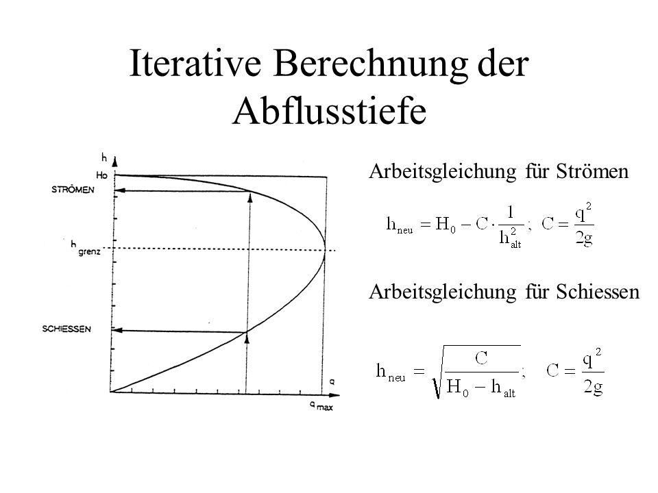 Iterative Berechnung der Abflusstiefe Arbeitsgleichung für Strömen Arbeitsgleichung für Schiessen