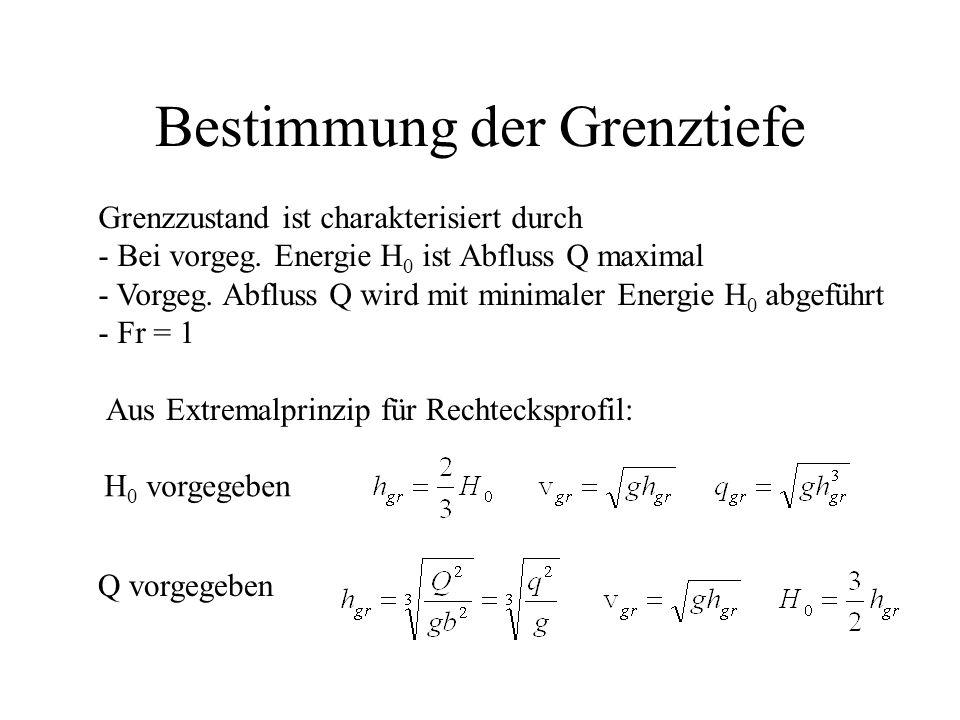 Bestimmung der Grenztiefe Aus Extremalprinzip für Rechtecksprofil: Grenzzustand ist charakterisiert durch - Bei vorgeg. Energie H 0 ist Abfluss Q maxi