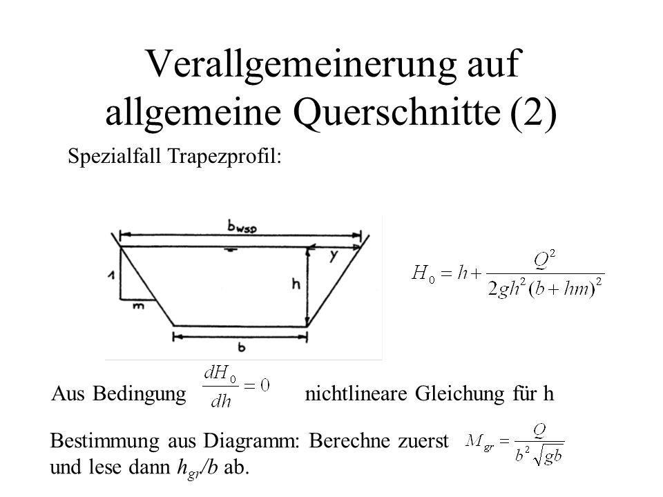 Verallgemeinerung auf allgemeine Querschnitte (2) Spezialfall Trapezprofil: Aus Bedingungnichtlineare Gleichung für h Bestimmung aus Diagramm: Berechn