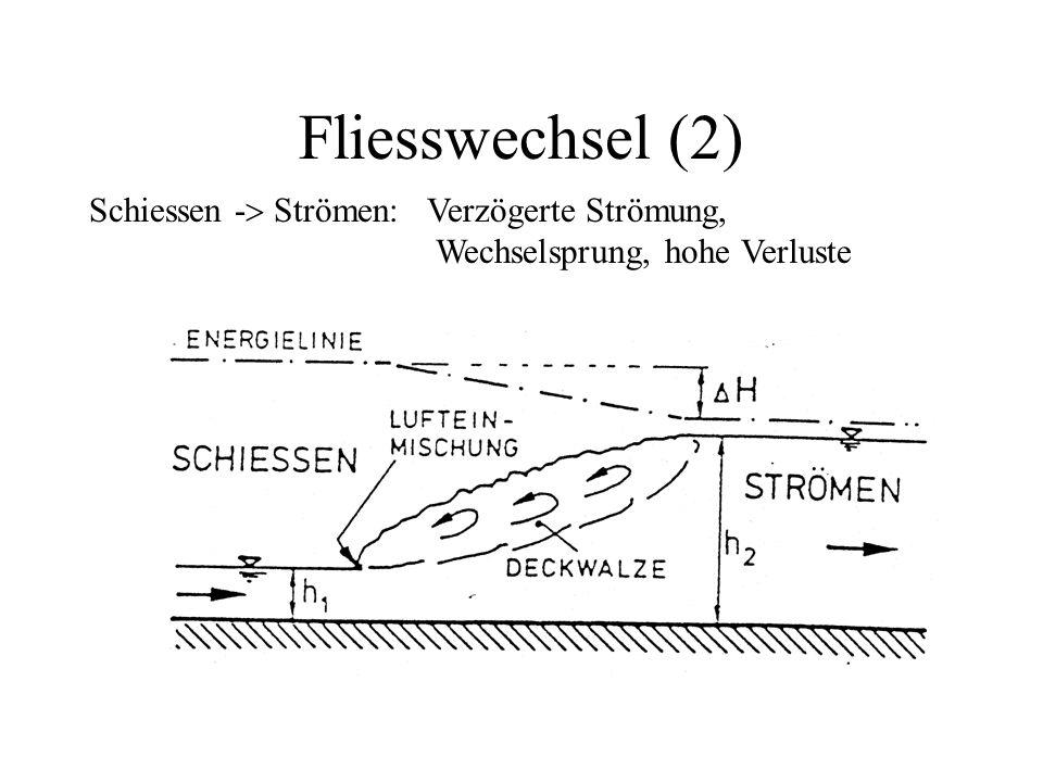 Fliesswechsel (2) Schiessen -  Strömen: Verzögerte Strömung, Wechselsprung, hohe Verluste