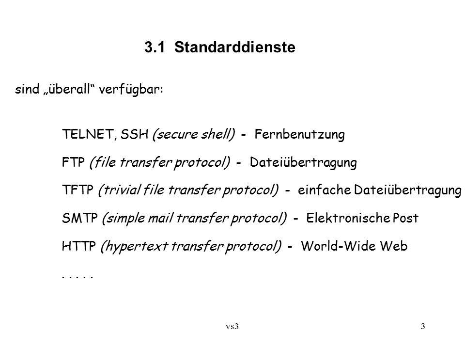 "vs33 3.1 Standarddienste sind ""überall verfügbar: TELNET, SSH (secure shell) - Fernbenutzung FTP (file transfer protocol) - Dateiübertragung TFTP (trivial file transfer protocol) - einfache Dateiübertragung SMTP (simple mail transfer protocol) - Elektronische Post HTTP (hypertext transfer protocol) - World-Wide Web....."