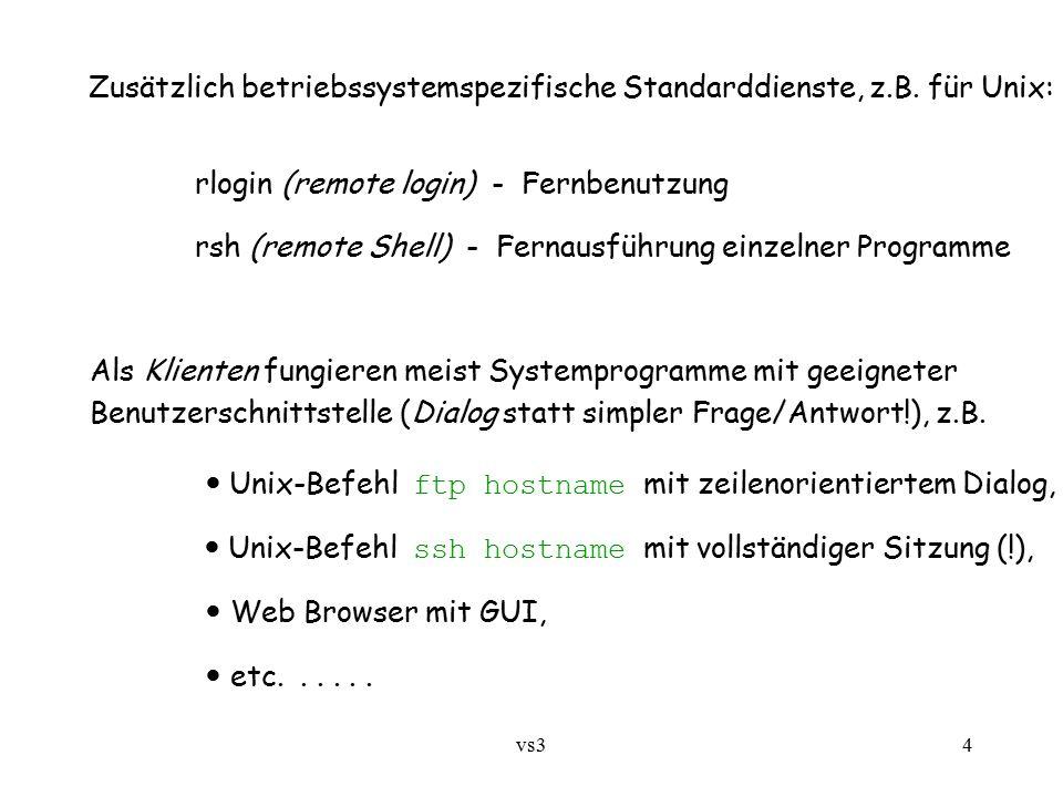 vs34 Zusätzlich betriebssystemspezifische Standarddienste, z.B. für Unix: rlogin (remote login) - Fernbenutzung rsh (remote Shell) - Fernausführung ei