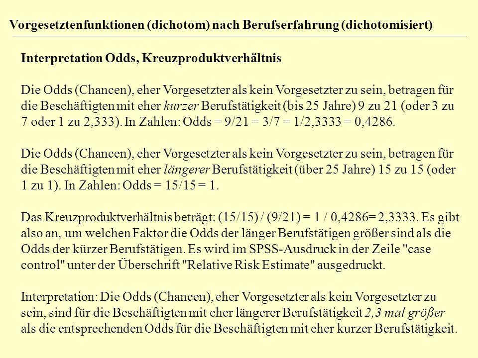 Interpretation Odds, Kreuzproduktverhältnis Die Odds (Chancen), eher Vorgesetzter als kein Vorgesetzter zu sein, betragen für die Beschäftigten mit eh
