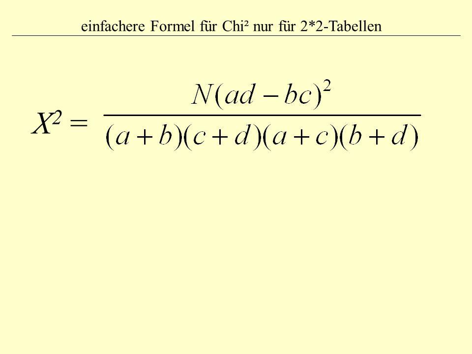 Χ 2 = einfachere Formel für Chi² nur für 2*2-Tabellen