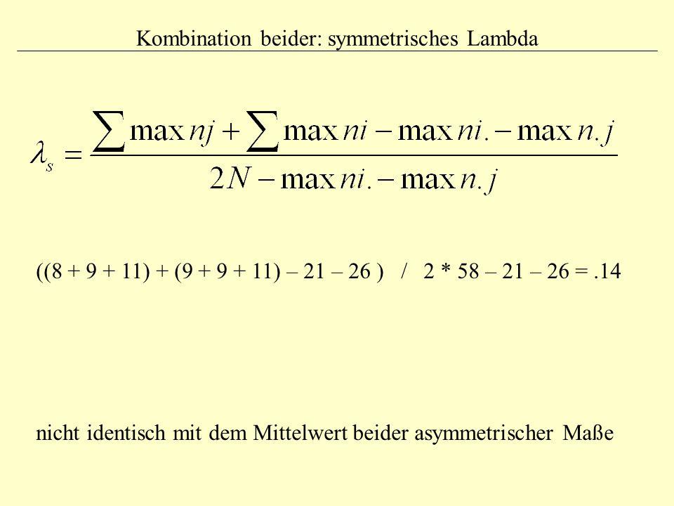 Kombination beider: symmetrisches Lambda ((8 + 9 + 11) + (9 + 9 + 11) – 21 – 26 ) / 2 * 58 – 21 – 26 =.14 nicht identisch mit dem Mittelwert beider as