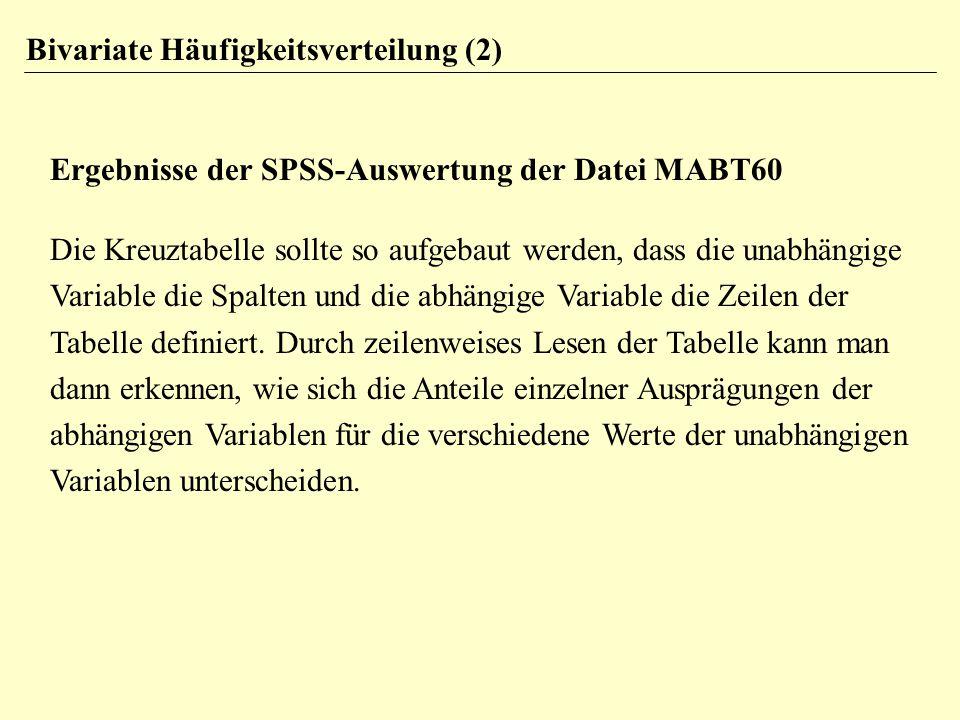 Bivariate Häufigkeitsverteilung (2) Ergebnisse der SPSS-Auswertung der Datei MABT60 Die Kreuztabelle sollte so aufgebaut werden, dass die unabhängige