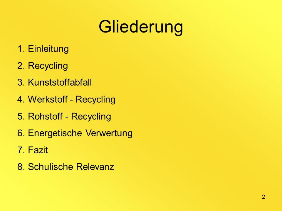 2 Gliederung 1.Einleitung 2.Recycling 3.Kunststoffabfall 4.Werkstoff - Recycling 5.Rohstoff - Recycling 6.Energetische Verwertung 7.Fazit 8.Schulische Relevanz