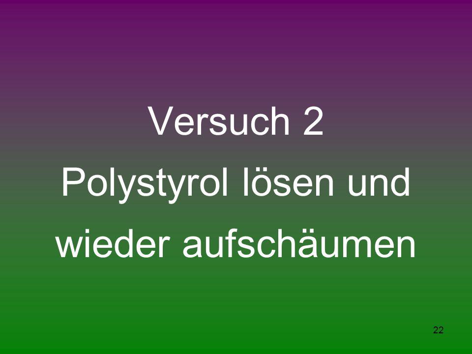 22 Versuch 2 Polystyrol lösen und wieder aufschäumen