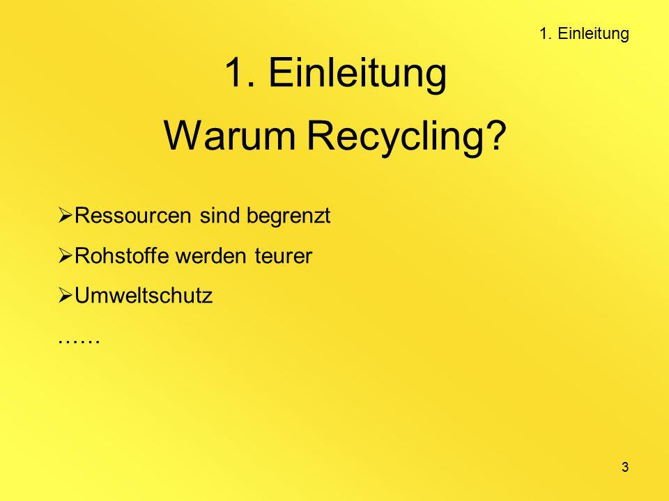 3 Warum Recycling. Ressourcen sind begrenzt  Rohstoffe werden teurer  Umweltschutz …… 1.