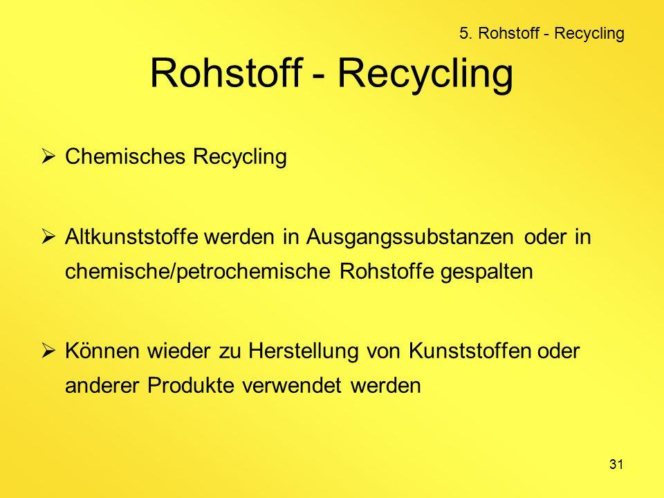 31 Rohstoff - Recycling  Chemisches Recycling  Altkunststoffe werden in Ausgangssubstanzen oder in chemische/petrochemische Rohstoffe gespalten  Können wieder zu Herstellung von Kunststoffen oder anderer Produkte verwendet werden 5.