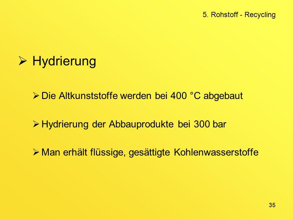 35  Hydrierung  Die Altkunststoffe werden bei 400 °C abgebaut  Hydrierung der Abbauprodukte bei 300 bar  Man erhält flüssige, gesättigte Kohlenwasserstoffe 5.
