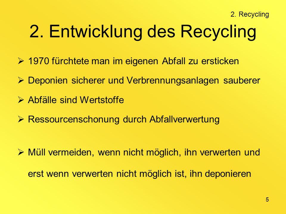 5 2. Entwicklung des Recycling  1970 fürchtete man im eigenen Abfall zu ersticken  Deponien sicherer und Verbrennungsanlagen sauberer  Abfälle sind