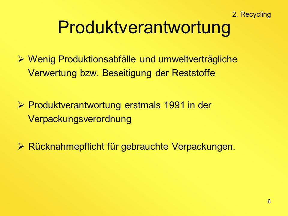 6 Produktverantwortung  Wenig Produktionsabfälle und umweltverträgliche Verwertung bzw.