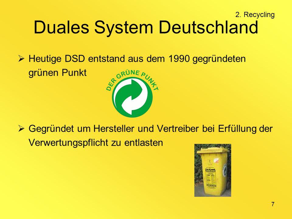 7 Duales System Deutschland  Heutige DSD entstand aus dem 1990 gegründeten grünen Punkt  Gegründet um Hersteller und Vertreiber bei Erfüllung der Verwertungspflicht zu entlasten 2.