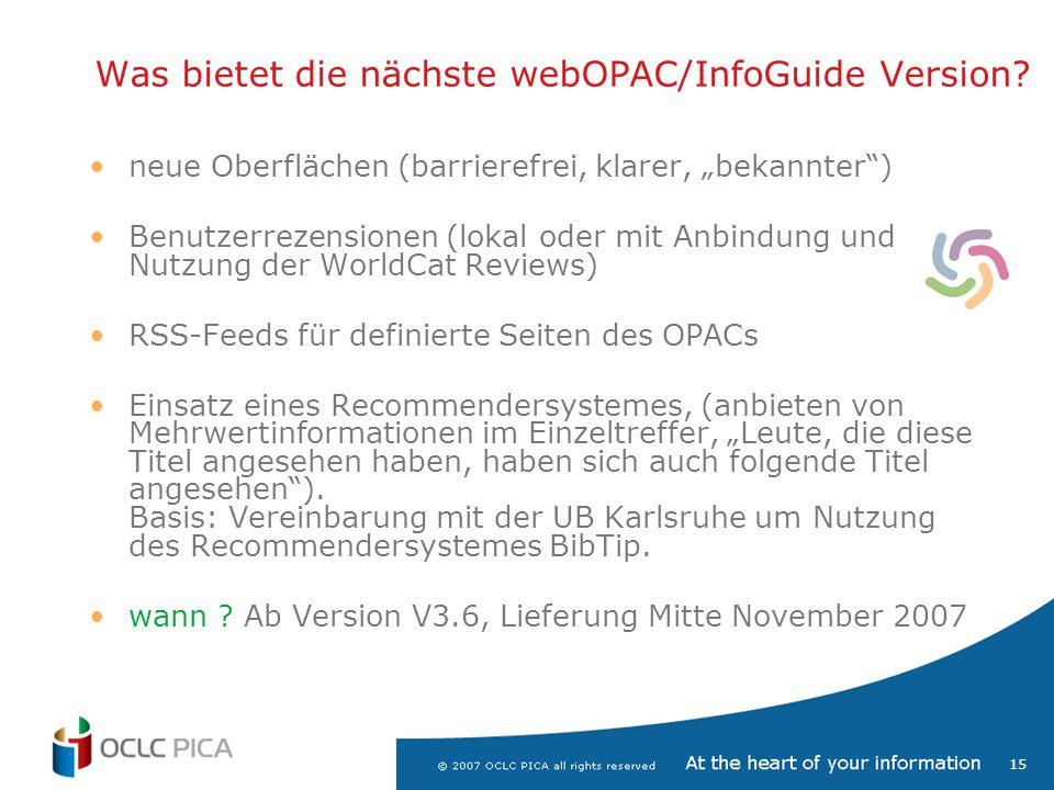 """15 neue Oberflächen (barrierefrei, klarer, """"bekannter ) Benutzerrezensionen (lokal oder mit Anbindung und Nutzung der WorldCat Reviews) RSS-Feeds für definierte Seiten des OPACs Einsatz eines Recommendersystemes, (anbieten von Mehrwertinformationen im Einzeltreffer, """"Leute, die diese Titel angesehen haben, haben sich auch folgende Titel angesehen )."""