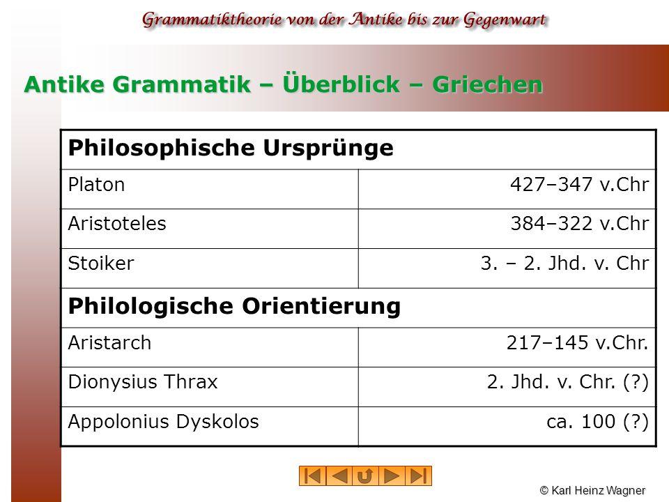 © Karl Heinz Wagner Antike Grammatik – Überblick – Griechen Philosophische Ursprünge Platon427–347 v.Chr Aristoteles384–322 v.Chr Stoiker3. – 2. Jhd.