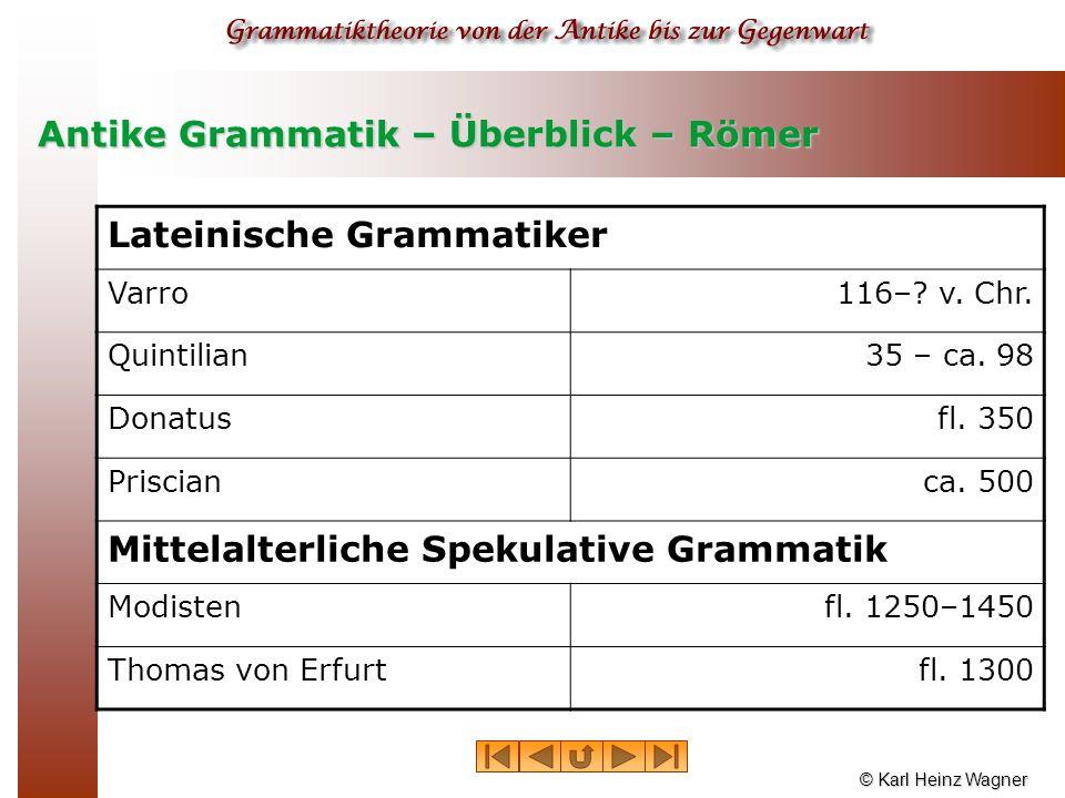 © Karl Heinz Wagner Antike Grammatik – Überblick – Römer Lateinische Grammatiker Varro116–? v. Chr. Quintilian35 – ca. 98 Donatusfl. 350 Priscianca. 5