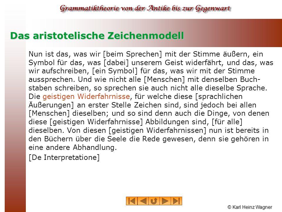 © Karl Heinz Wagner Das aristotelische Zeichenmodell Nun ist das, was wir [beim Sprechen] mit der Stimme äußern, ein Symbol für das, was [dabei] unser