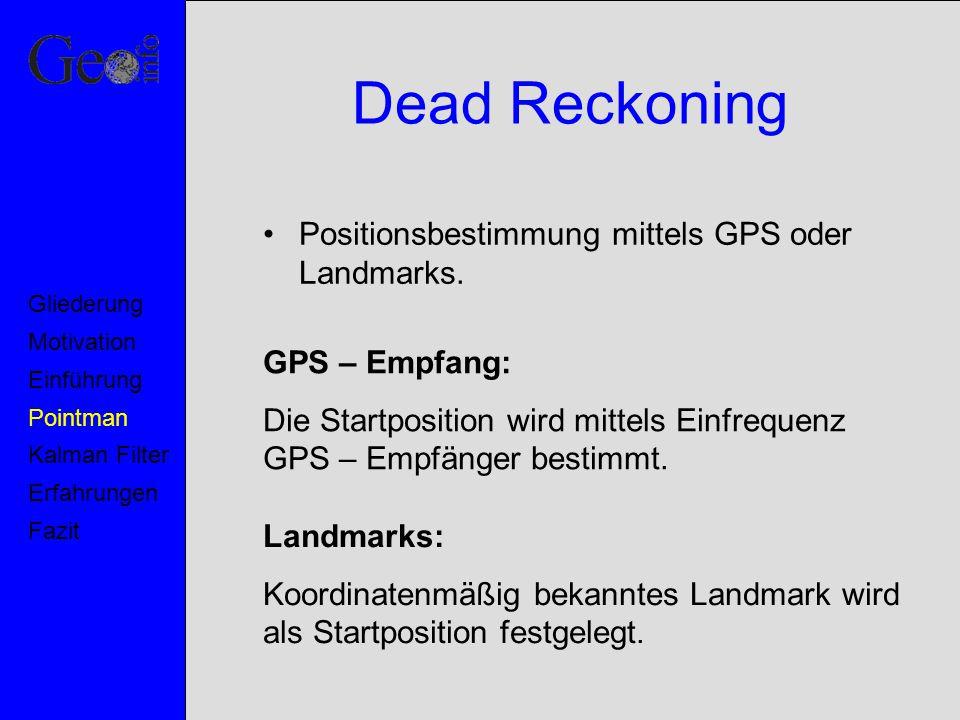 Dead Reckoning Positionsbestimmung mittels GPS oder Landmarks. Motivation Pointman Kalman Filter Erfahrungen Fazit Einführung Gliederung GPS – Empfang