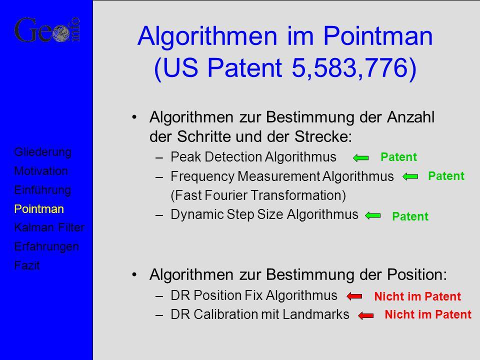 Algorithmen im Pointman (US Patent 5,583,776) Algorithmen zur Bestimmung der Anzahl der Schritte und der Strecke: –Peak Detection Algorithmus –Frequen
