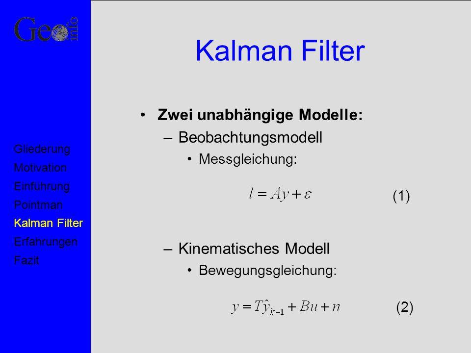 Kalman Filter Zwei unabhängige Modelle: –Beobachtungsmodell Messgleichung: –Kinematisches Modell Bewegungsgleichung: (1) (2) Motivation Pointman Kalma