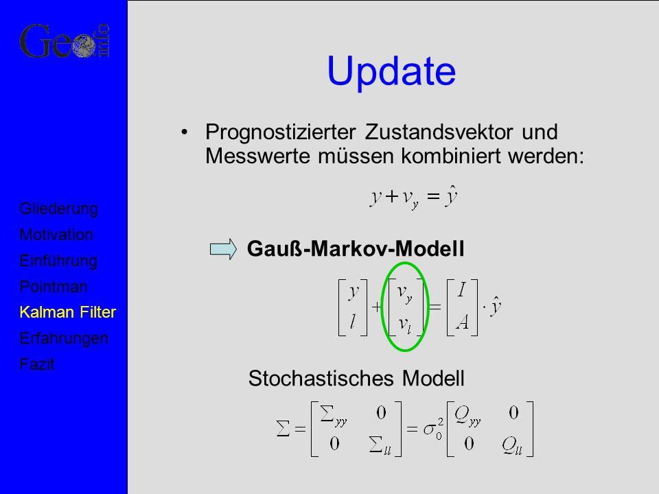 Update Prognostizierter Zustandsvektor und Messwerte müssen kombiniert werden: Gauß-Markov-Modell Stochastisches Modell Motivation Pointman Kalman Fil