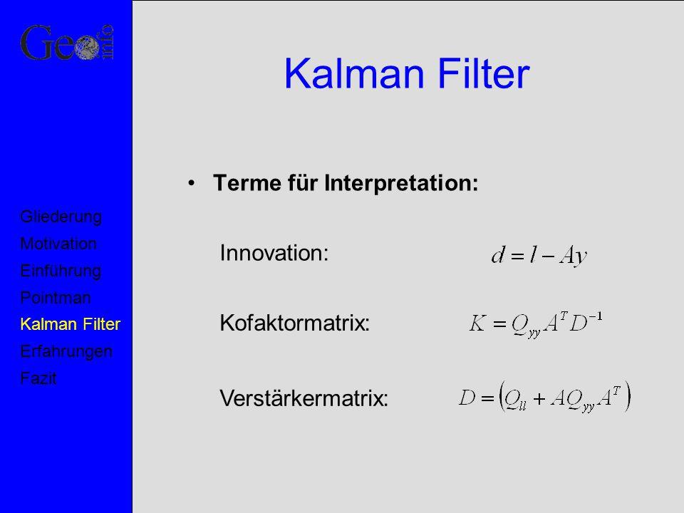 Kalman Filter Terme für Interpretation: Innovation: Kofaktormatrix: Verstärkermatrix: Motivation Pointman Kalman Filter Erfahrungen Fazit Einführung G