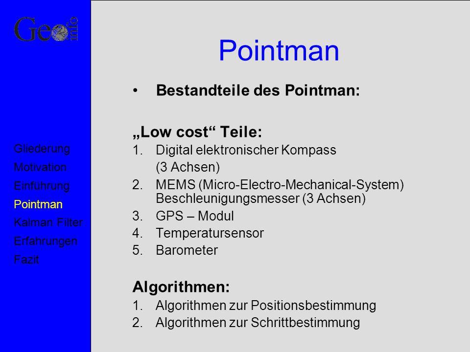 Kalman Filter Zwei unabhängige Modelle: –Beobachtungsmodell Messgleichung: –Kinematisches Modell Bewegungsgleichung: (1) (2) Motivation Pointman Kalman Filter Erfahrungen Fazit Einführung Gliederung