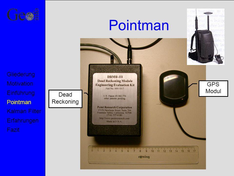 Versuchsergebnisse Motivation Pointman Kalman Filter Erfahrungen Fazit Einführung Gliederung