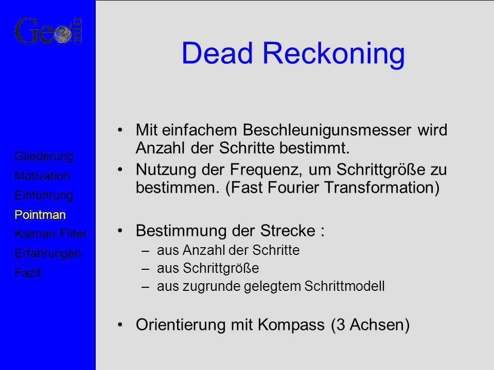Dead Reckoning Mit einfachem Beschleunigunsmesser wird Anzahl der Schritte bestimmt. Nutzung der Frequenz, um Schrittgröße zu bestimmen. (Fast Fourier