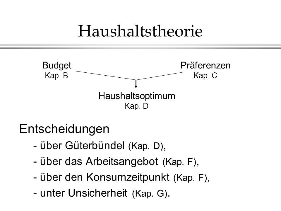Haushaltstheorie Entscheidungen - über Güterbündel (Kap.
