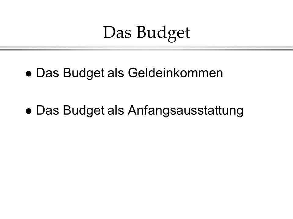 Das Budget l Das Budget als Geldeinkommen l Das Budget als Anfangsausstattung