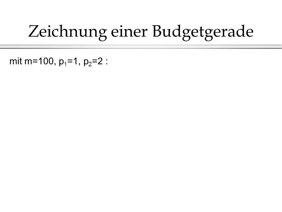 Zeichnung einer Budgetgerade mit m=100, p 1 =1, p 2 =2 :