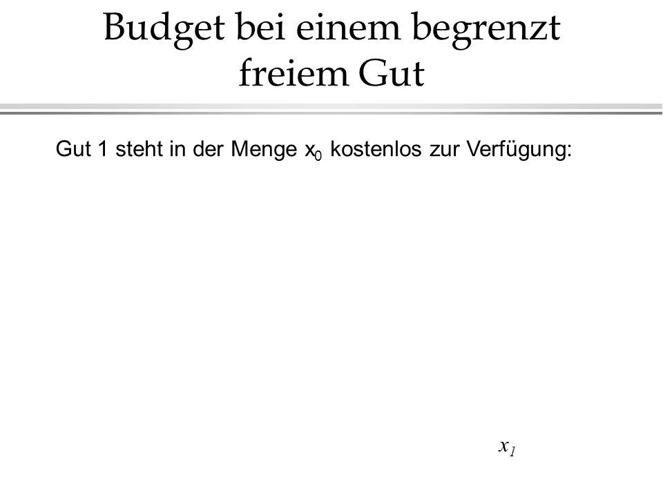 Budget bei einem begrenzt freiem Gut x1x1 Gut 1 steht in der Menge x 0 kostenlos zur Verfügung: