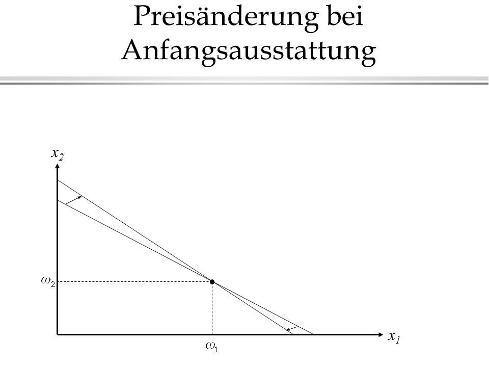 Preisänderung bei Anfangsausstattung x1x1 x2x2