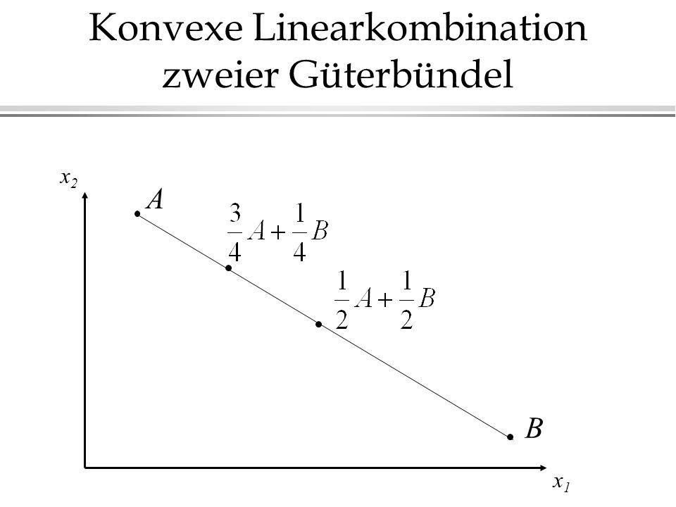 Konvexe Linearkombination zweier Güterbündel x1x1 x2x2 A B