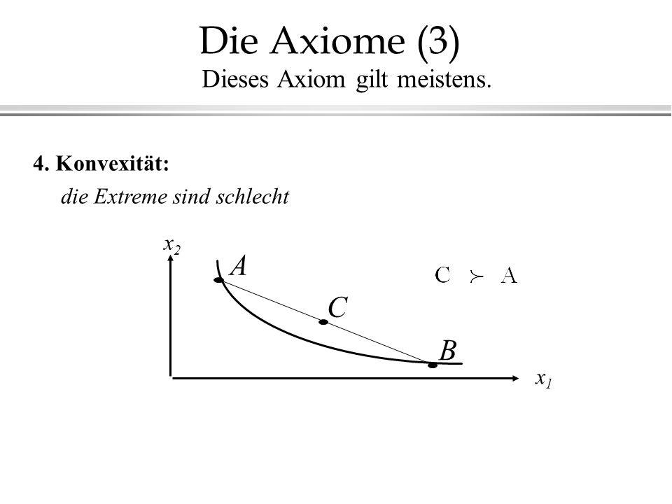 Die Axiome (3) 4. Konvexität: die Extreme sind schlecht x1x1 x2x2 A B C Dieses Axiom gilt meistens.