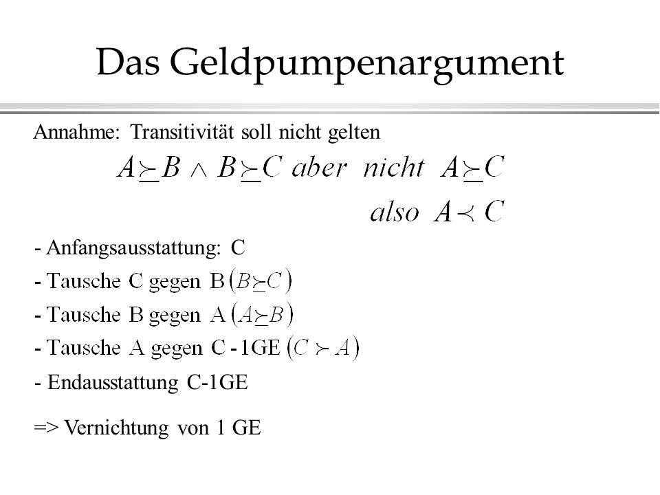 Das Geldpumpenargument Annahme: Transitivität soll nicht gelten - Anfangsausstattung: C - Endausstattung C-1GE => Vernichtung von 1 GE