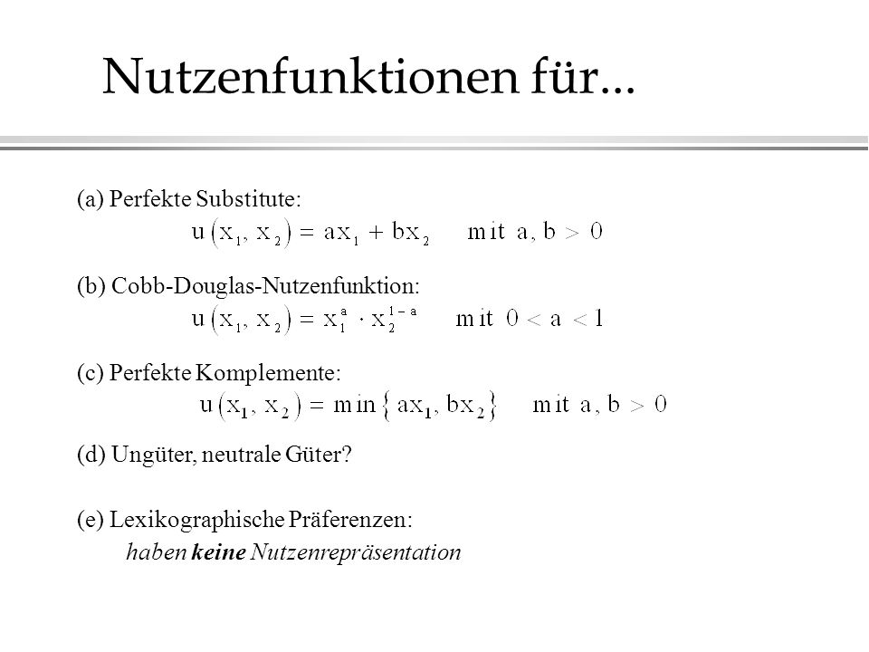 (a) Perfekte Substitute: (b) Cobb-Douglas-Nutzenfunktion: (c) Perfekte Komplemente: (d) Ungüter, neutrale Güter.