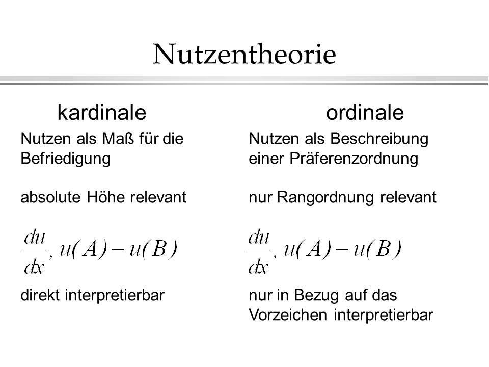 Nutzentheorie kardinaleordinale Nutzen als Maß für die Befriedigung absolute Höhe relevant direkt interpretierbar Nutzen als Beschreibung einer Präferenzordnung nur Rangordnung relevant nur in Bezug auf das Vorzeichen interpretierbar