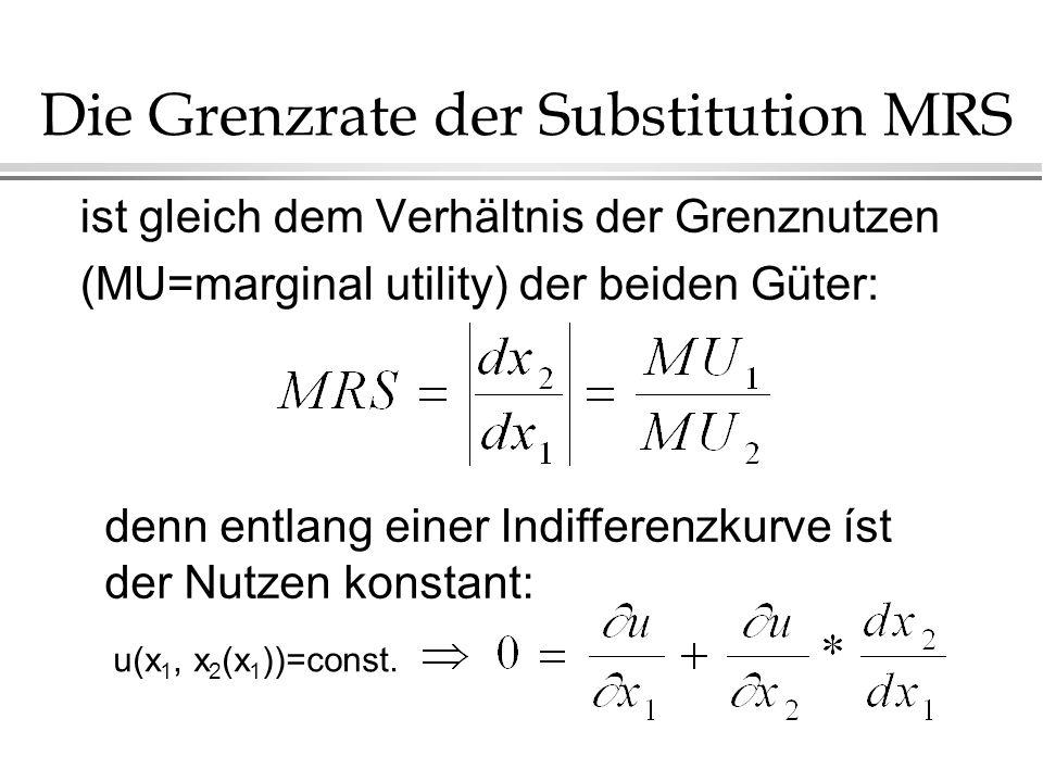 Die Grenzrate der Substitution MRS ist gleich dem Verhältnis der Grenznutzen (MU=marginal utility) der beiden Güter: denn entlang einer Indifferenzkurve íst der Nutzen konstant: u(x 1, x 2 (x 1 ))=const.
