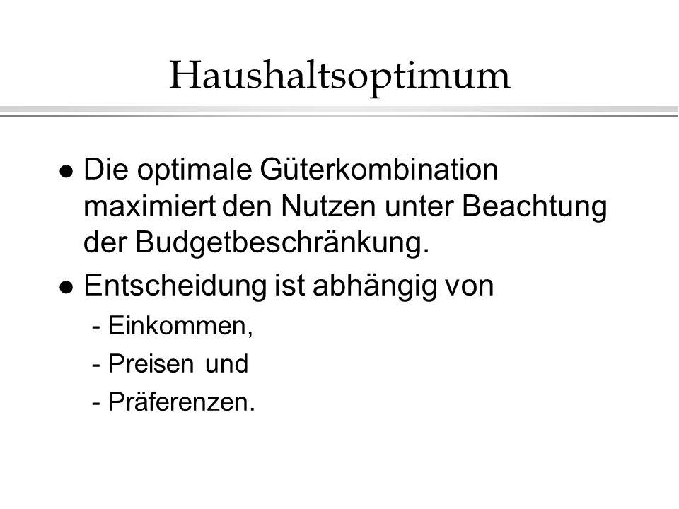 Haushaltsoptimum l Die optimale Güterkombination maximiert den Nutzen unter Beachtung der Budgetbeschränkung.