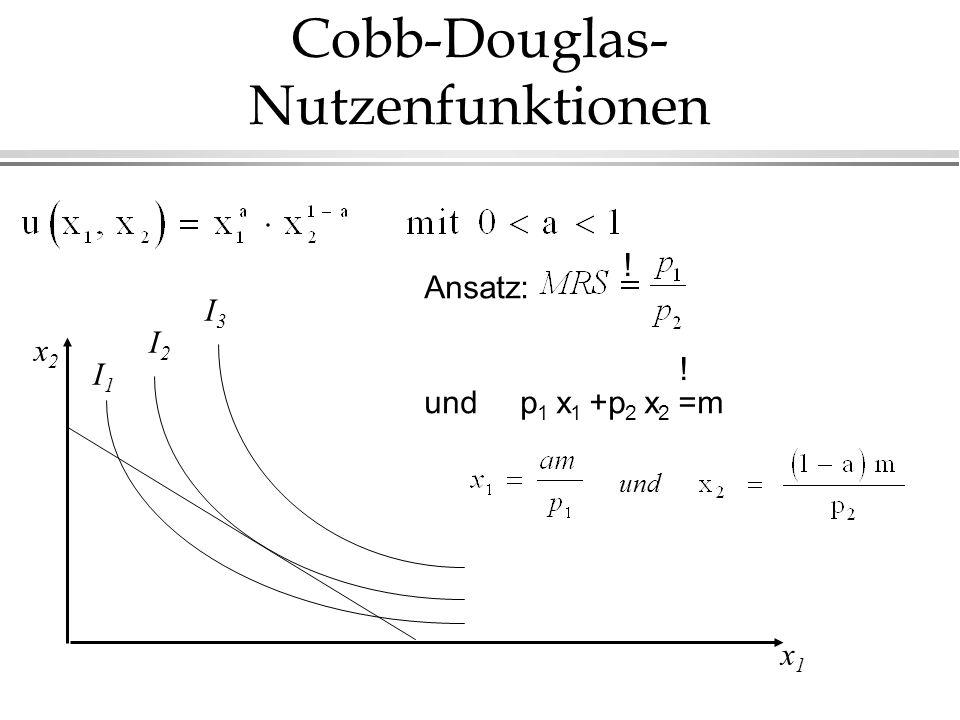 Cobb-Douglas- Nutzenfunktionen x2x2 x1x1 I3I3 I2I2 I1I1 und Ansatz: und p 1 x 1 +p 2 x 2 =m ! !