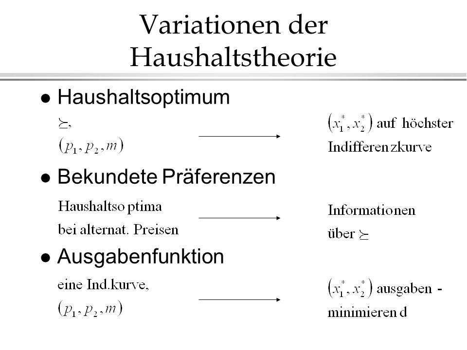 Variationen der Haushaltstheorie l Haushaltsoptimum l Bekundete Präferenzen l Ausgabenfunktion
