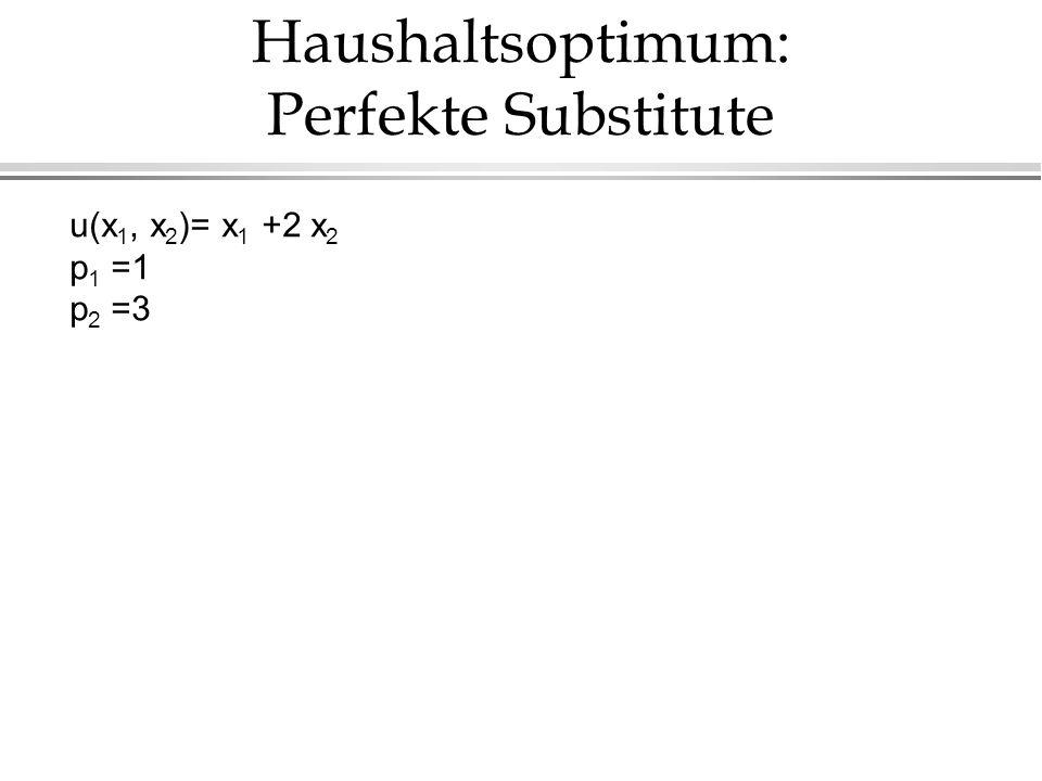 Haushaltsoptimum: Perfekte Substitute u(x 1, x 2 )= x 1 +2 x 2 p 1 =1 p 2 =3